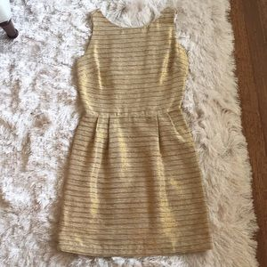 Leona Gold Woven Open Back Dress Size 2